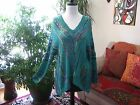 WEST 36th sz M / L Green Draping V-Neck Art To Wear Sweater NWT