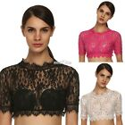 Ladies Women O Neck Short Sleeve Sexy Floral Slim Mini Lace Crop Tops S0BZ
