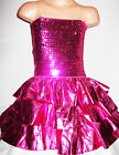 GIRLS BRIGHT PINK GLITZY SEQUIN RUFFLE EVENING SPECIAL OCCASION PARTY DRESS