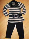 GIRLS LIGHT PINK & BLACK STRIPE WINTER KNIT TOP & LEGGING with BELT