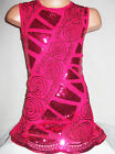 GIRLS 60s CERISE PINK EMBROIDERED BRAID SEQUIN EVENING DANCE PARTY DRESS