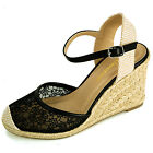Womens Wedge Heels Platform Shoes Braided Wicker Lace Design Ankle Strap Sandals