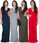NEW Womens Grecian Open Shoulder V Neck Long Maxi Dress Plus Size S M L XL 2X