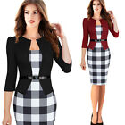 Winter Women Lady Plaid Bodycon Cocktail Party Evening Pencil Office Midi Dress
