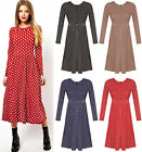 Womens Jersey Gathered Waist Dress Ladies Printed Polka Dot Midi Skater Plus8-22