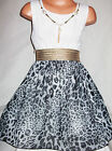 GIRLS WHITE LACE GREY ANIMAL PRINT CHIFFON DIP HEM PARTY DRESS with NECKLACE