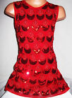 GIRLS 60s RED PEACOCK FEATHER EMBROIDERED SEQUIN EVENING DANCE PARTY DRESS