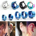 Pair Stainless Steel Rounded Hoop Huggies Earrings Mens Womens Width 3-6mm Punk