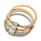 3 Colours Stainless Steel Magnet Clasps Mesh Crystal Bracelet Bangle Jewelry