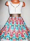 GIRLS WHITE LACE BLUE MIX CHEVERON PRINT CHIFFON DIP HEM DRESS with NECKLACE