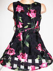 GIRLS 50s STYLE BLACK ROSE PRINT FLARED SPECIAL OCCASION PROM PARTY DRESS