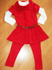 GIRLS 3 PIECE RED ROSETTE TRIM WINTER DRESS TOP & LEGGING with BELT