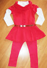 GIRLS 3 PIECE CORAL ROSETTE TRIM WINTER DRESS TOP & LEGGING with BELT