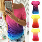 Fashion Womens Boat Neck Gradient T Shirt Tops Short Sleeve Casual Blouse New RD