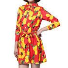 Women Lemon Prints Long Sleeves Belted Shirt Dress