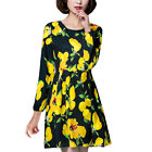 Women Lemon Prints Round Neck Long Sleeves A Line Dress