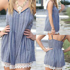 Sexy Women Striped Short Mini Sexy Summer Beach Strap Jumpsuit Rompers VNC