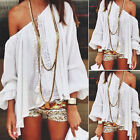 New Women Sexy Off Shoulder Long Sleeve Loose T shirt Tee Oversized Top Blouse Y
