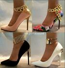 GOLD METAL MULTI CHAIN LINK CHUNKY SHOE HEEL BRACELET ANKLET NEW