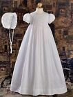 New Girls Christening Baptism Dress White Cotton Embroidered Handmade Sz 0-24M