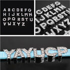 10pcs 8mm A-Z Full Rhinestone Slide Letters Charms DIY for Bracelet with Gift CA