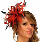 Red & Teal Fascinator Hat/choose any other main or/& highlight feather colour