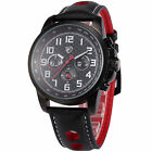 Saw Shark Leather Quartz Army 24 Hours Date Day Indicator Mens Sport Wrist Watch