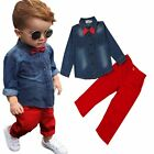 2pcs Toddler Kids Baby Boy Denim T-shirt Tops+Pants Trousers Outfits Clothes Set