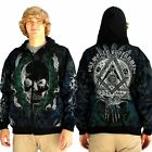 One World Government Zippered Hoodie Masonic Club Chaos