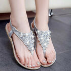 Women Flip Flops Sandals Shoes Color Gold Silver With Diamond Bohemian Style