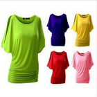 Sexy Women Bat Short Sleeve Club Party Ladies T-shirt Loose Blouse Top 10 Colors