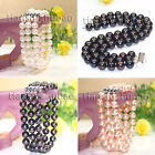 genuine 3 rows 8-9mm black whtie pink freshwater cultured pearl bracelet bangle