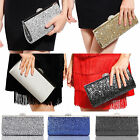 NEW GLITTER SHIMMER SILVER GOLD TRIM SHOULDER CHAIN LADIES CLUTCH BAG PURSE