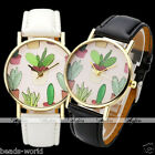Fashion Men's Women's Quartz Watch Potted Plant Cactus Leather Band Wrist Watch