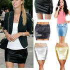 Women's Lady Sexy Club Leather Tight Skirt Short Mini Bodycon Pencil Denim S0BZ