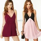 2016 Women Chiffon Hollow Cross halter Sleeveless Strap Shorts Dress Jumpsuits