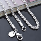 16to 24inch Fashion Women Sterling Silver Plated Rope Chain Necklace Jewelry