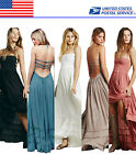 Halter Pageant Bridesmaid Evening Formal Gown Prom Party Maxi Dresses US Local