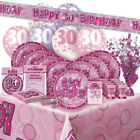 AGE 30/30TH BIRTHDAY PINK GLITZ PARTY RANGE (Balloon/Decoration/Banner/Napkins)