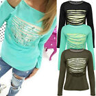 Hot Fashion Womens Loose Pullover T Shirt Long Sleeve Cotton Tops Shirt Blouse