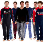 Mens Fleece Winter Long Sleeve Top Pyjama Set  Pajamas Loungewear thermal warmth