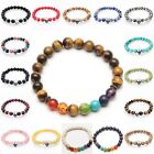 Handmade Men Women Lava Rock Bracelet Natural Gemstone Beads Buddha Head Beads