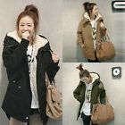 Damen Winter Warm Thick Fur Fleecejacke Hooded Kapuzen Mantel Trench Parka Coat