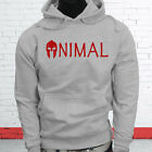 Wild Zoo Gym Strong Fitness Health Red 300 Spartan Animal Mens Gray Hoodie