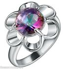New Women Fashion Silver Plated Sunflower Multicolour Gem Diamante Ring
