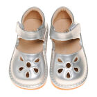 Girl Petal Patent Style Squeaky Shoes SILVER Toddler Size 1-7