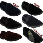 Mens Gusset Slippers Gents Casual Shoes BLACK GREY NAVY  Sizes UK 7 8 9 10 11 12