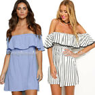 Summer Sexy Womens Blue White Stripe Off shoulder One Piece Casual Mini Dress