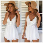 Womens Summer Beach Sexy Halter Mini Dress Playsuit Ladies Beach Evening Party