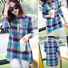New Womens Button Down Blouse Tops Casual Loose Long Sleeve Plaids Checked Shirt